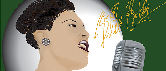 drawing of billie holiday